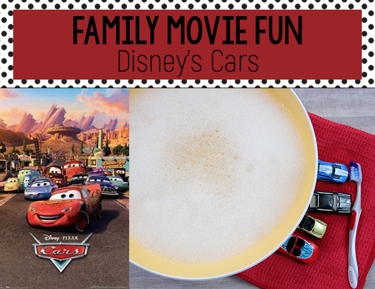 Disney's Cars is such a cute movie, and with this simple car wash activity, your kids will enjoy it even more! #activitiesforkids #kidsactivities #movienight #familyfun #funwithkids